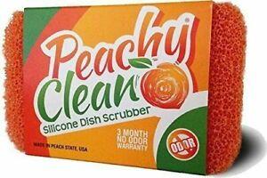 Peachy Clean Silicone Kitchen Dish Scrubber - Peach Scented Scrubbing Sponge