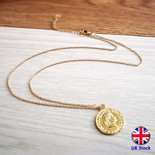 Gold Coin Pendant Necklace - 5 Swiss Francs Helvetia Design - UK Stock