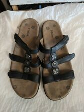 Taos Prize Black Leather Strappy Slides Sandals Women US 10/41