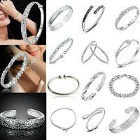 Women 925 Silver Flower Cuff Bangle Wristband Bracelet Wedding Bridal Jewelry TR