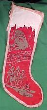 Vintage Christmas Stocking Santa Claus & Carolers Red Flannel White Vinyl 1950s