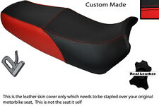 BLACK & BRIGHT RED CUSTOM FITS SUZUKI GSX 1100 F DUAL LEATHER SEAT COVER