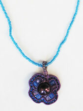 Inch Chain Women & Girls $22 Nwb Blue & Purple Woven Bead Pendant Necklace 16