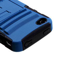 APPLE iPHONE 4 4S DUAL LAYER HYBRID ARMOR CASE W/ KICKSTAND BLUE