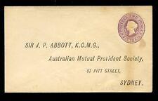 AUSTRALIA VICTORIA QV STATIONERY 2d STO REPLY ENVELOPE ABBOTT AMPS
