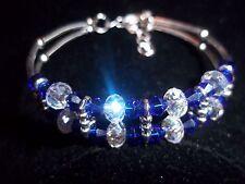 Hot Tibetan Silver Fashion Jewelry Blue & Clear Crystal Bead Bracelet B-53