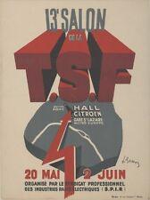 """""""13e SALON de la T.S.F. 1938"""" Affiche originale entoilée Litho L. BESSON 33x43cm"""