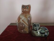 Tonala Mexican Cat Pottery-2-Signed & Dated 1973 & 1980-LOOK!!!!