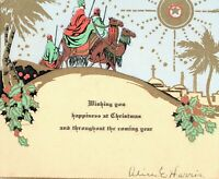 Three Wise Men on Camels Approaching Bethlehem Vintage Art Deco Christmas Card