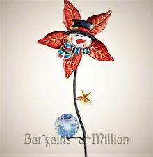 Solar Light Snowman Pinwheel Poinsettia Wind Spinner Holiday Yard Garden Stake