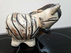 Wooden Zebra sculpture BEATRICE h/18cm by l/22cm base 11cm