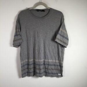 The Hundreds mens t shirt size XL grey striped basic short sleeve cotton