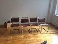 Vintage Italian Marcel Breuer Brown chrome leather 4 chair knoll RARE CROSS LACE