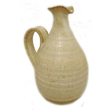 Studio Pottery Jug Decanter White Cream Brown Stoneware Ornament 1970s Vintage