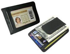 Black Genuine Leather Magnetic Money Clip Mens Wallet ID Badge Card Holder-
