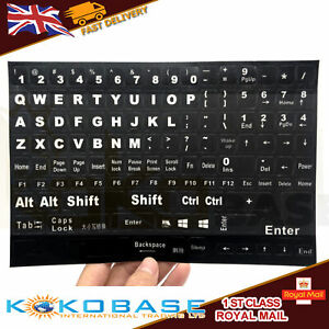 English QWERTY Replacement Keyboard Sticker with white Letters FOR PC Laptop