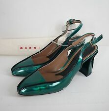 $830 NWD MARNI Metallic iridescent Green SLINGBACK Pump Heels Shoes 37 US-7