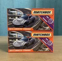 LOT OF TWO 2020 Matchbox 2015 Corvette Stingray 1/64 MBX Highway Power Grabs NEW