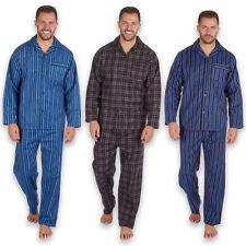 Mens Flannel Pyjama 100% Cotton Traditional PJ Pajama Set Classic Check Stripes