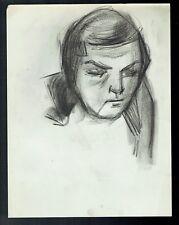 D16 - Dessin d'Etude au crayon - Portrait Femme - vers 1950