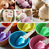 UK 6PCS Kids Colourful Sunmmer Ice Cream Cup Ice Cream Bowls Spoon Dessert Gift