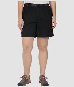 $209 Columbia Womens Black Mid Rise Classic Fit Belted Cargo Shorts Plus Size 2X