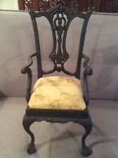 Vintage Cast Iron Doll Chair Chippendale Style Claw Feet Padded Seat
