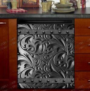 Kitchen Dishwasher Magnet Cover - Engraved Dark Batik Metal Design Pattern
