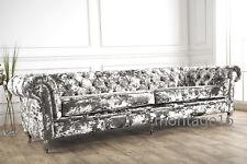 Bespoke Chelsea Button Back Chesterfield Grey Silver Crush Velvet Fabric Sofa