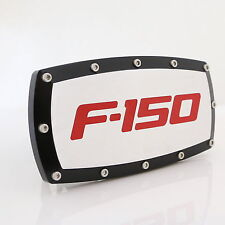 Ford F-150 Red Fill Logo Black Trim Chrome Billet w/ Allen Bolts Tow Hitch Cover