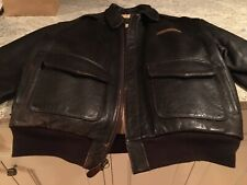 Avirex A-2 Brown Leather Flight Jacket With Pacific Princess Nose Art Size Large