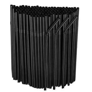 50 x Flexible Bendy Black Plastic Straws Birthday Party Drink Wedding  Home Bar