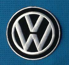VW INITIAL CAR LOGO VAN SOW SEW ON IRON ON EMBROIDERED PATCH BADGE BLACK WHITE