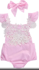 BABY GIRLS PINK EMBROIDERED LACE PRINCESS ROMPER WITH BOW  PHOTOSHOOT PRINCESS