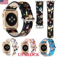 Apple Watch Birds Flowers Floral Printed Leather Band Strap Wrist Watch Bracelet