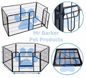 Heavy duty 6pc Dog/Puppy play whelping cage rabbit guinea pig run (optional bed)