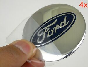 "(4 PACK) FORD Wheel Center Hub Cap Sticker Decal 2.20"" DOME SHAPE (SILVER)"