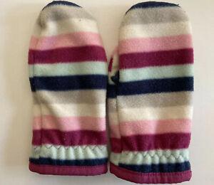 Baby Gap Girls Fleece Mittens Size M/L Blue Fuchsia Pink Gray White Striped