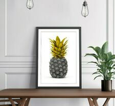 PINEAPPLE MUSTARD YELLOW GREY ART FRAMED POSTER PICTURE PRINT GOOD FORTUNE