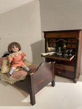 Antique German 6in Glass Eye Dollhouse Doll W/ Biedermeier Bed & Desk W/ Acces!
