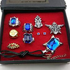Black butler Kuroshitsuji Ciel Phantomhive Cosplay Rings+ Necklace+Ear-nail Set