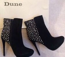 Dune Black Suede Nikkita High Heel Ankle Boots Diamonte Size 5 Bnwts