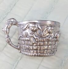 Author Court 1997 Silver-Tone Aluminum Embossed Bunny Rabbit Baby Cup Mug