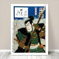 "Japanese Kabuki Art CANVAS PRINT 36x24"" Ichikawa Danjuro Kunichika #009"