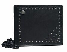 REPLAY Studs and Chain Leather Wallet Geldbörse Black Schwarz Neu