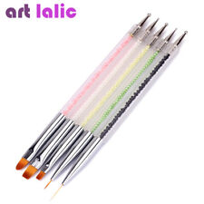 5Pcs 2 Way Acrylic UV Nail Gel Brush Set Painting Drawing Dotting Lining Pen Kit