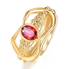 Garnet & Amethyst & White Topaz Gemstone Silver 18K Yellow Gold Filled Ring Gift