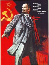VINTAGE Unione Sovietica Lenin A3 POSTER STAMPA