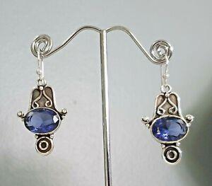 925 Sterling Silver Overlaid Faceted Iolite Quartz Dangle Earrings