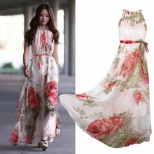 Women Chiffon Bridesmaid Maxi Beach Floral Long Cocktail Party Dress Full Length